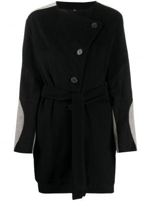 Черное кашемировое длинное пальто с поясом Helmut Lang Pre-owned