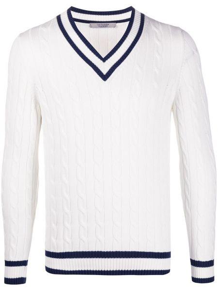 Белый свитер с вырезом La Fileria For D'aniello