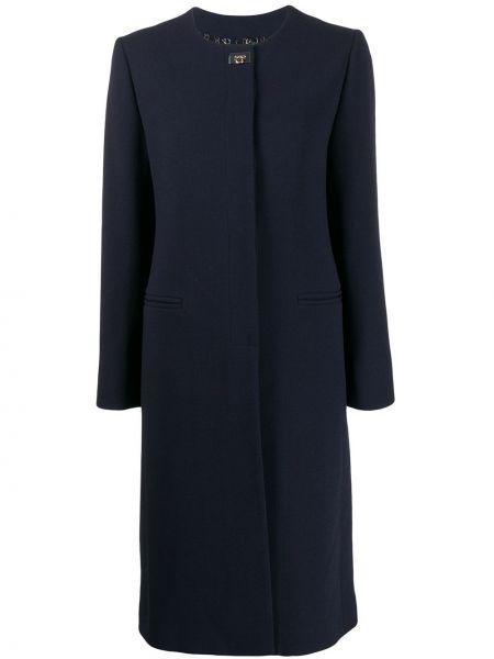Синее шерстяное пальто с капюшоном Salvatore Ferragamo