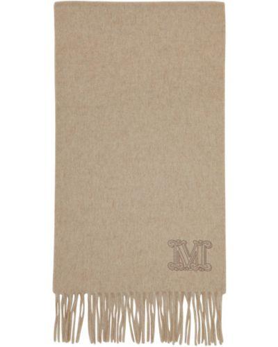 Кашемировый белый шарф с вышивкой Max Mara