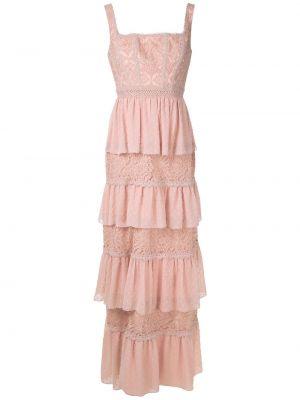 Плиссированное розовое платье со вставками со складками Martha Medeiros