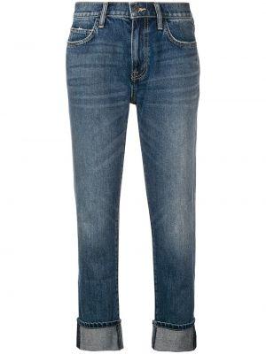 Укороченные джинсы с манжетами синие Current/elliott