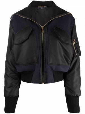 Синяя укороченная куртка Versace