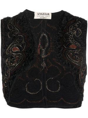 Czarny bolerko z jedwabiu z haftem A.n.g.e.l.o. Vintage Cult