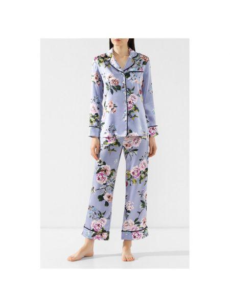 Пижама с брюками с цветочным принтом шелковая Olivia Von Halle