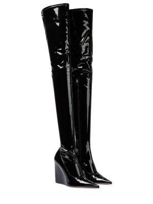 Текстильные черные сапоги до середины колена Amina Muaddi