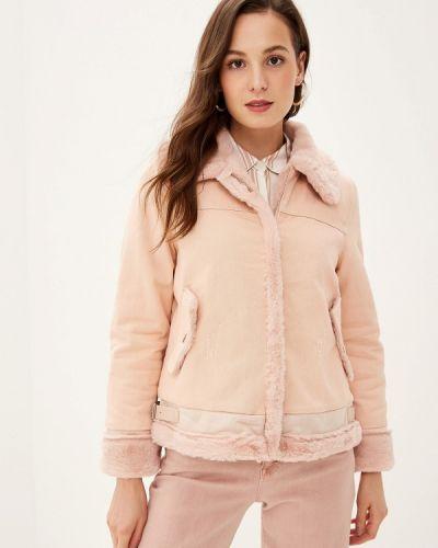 Джинсовая куртка осенняя розовая Grand Style