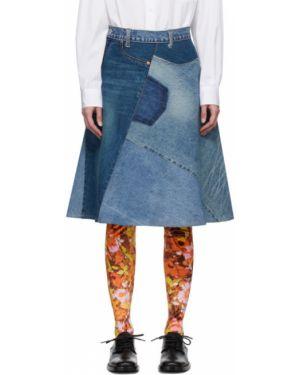 Кожаная юбка джинсовая синяя Junya Watanabe