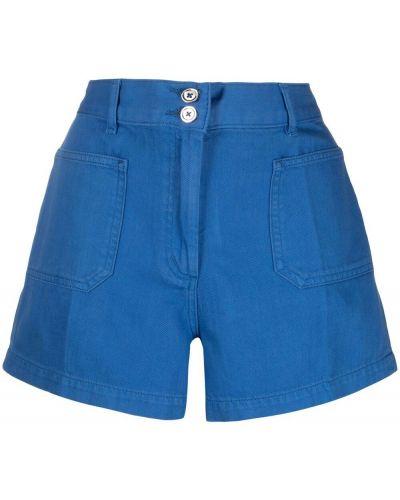 С завышенной талией хлопковые синие джинсовые шорты A.p.c.