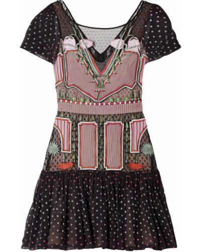 Шелковое черное платье мини с подкладкой Temperley London