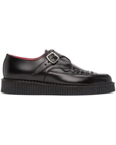 Skórzany czarny pnącza buty Molly Goddard