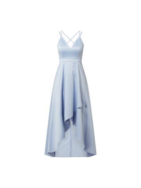 Niebieska sukienka wieczorowa rozkloszowana z dekoltem w serek Jake*s Cocktail