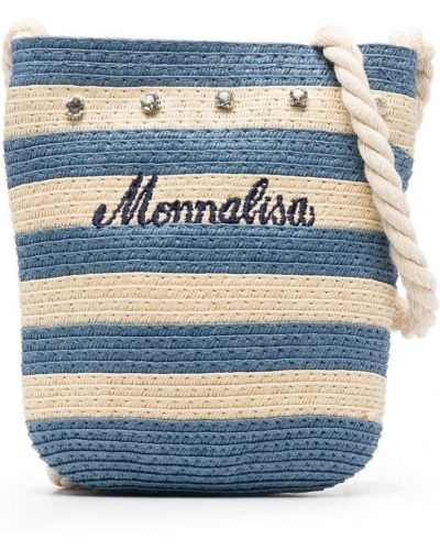 С ремешком синяя косметичка с вышивкой Monnalisa
