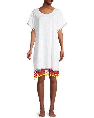 Хлопковое белое платье с короткими рукавами Pitusa