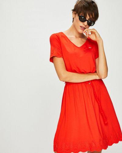 Платье мини с вышивкой с поясом U.s. Polo