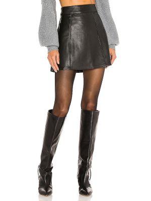 Черная кожаная юбка мини для полных L'academie