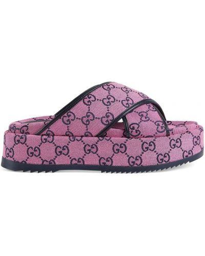 Różowe sandały na platformie skorzane Gucci