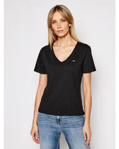 Czarny koszula jeansowa z dekoltem w serek Tommy Jeans