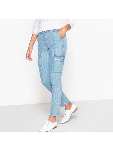 Белые укороченные джинсы с пайетками с поясом в стиле бохо La Redoute Collections