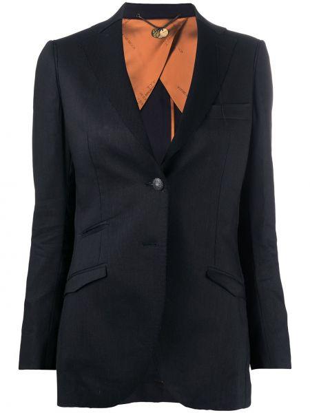 Льняной черный пиджак с карманами с лацканами Maurizio Miri