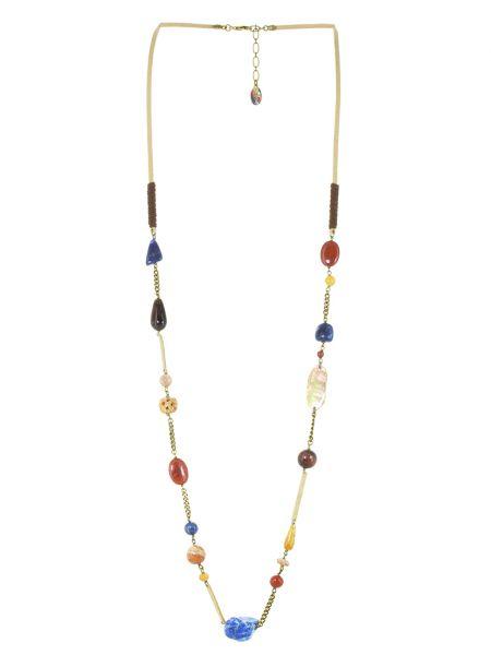 Коричневое кожаное ожерелье с янтарем Nature Bijoux