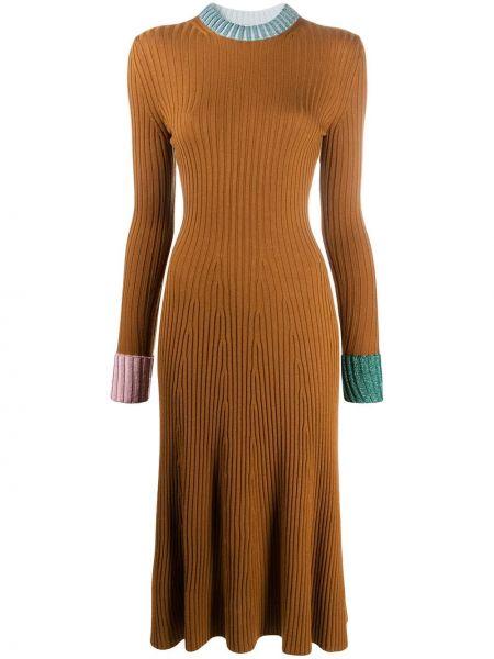 Шерстяное платье в рубчик Lanvin