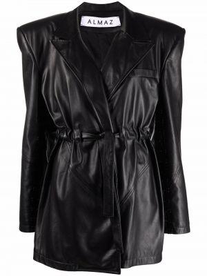Черная кожаная куртка на запах Almaz