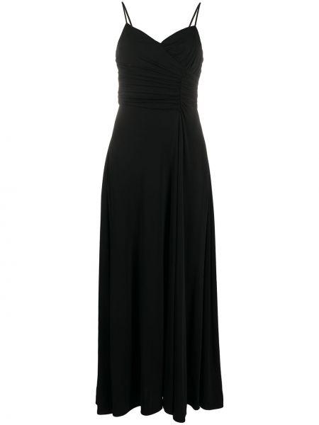 Коктейльное платье с V-образным вырезом черное Giorgio Armani