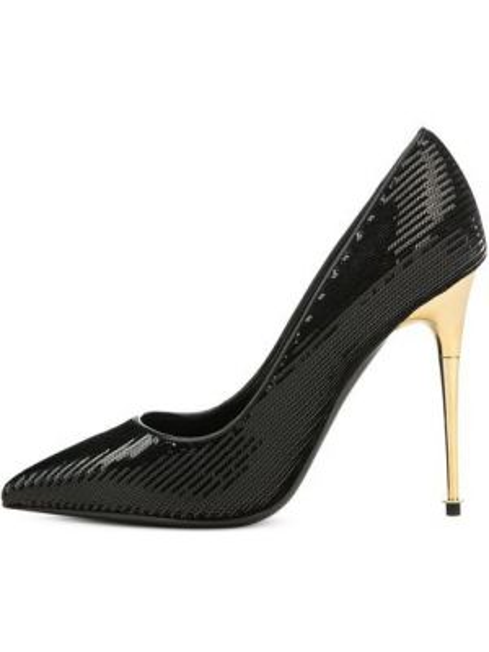 Туфли на каблуке черные кожаные Tom Ford