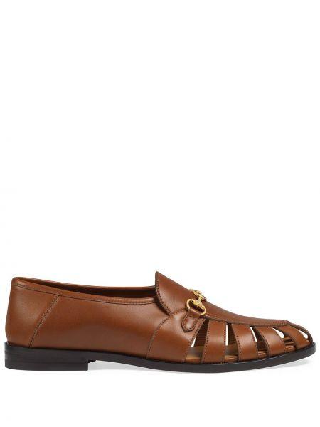 Brązowy loafers z prawdziwej skóry prążkowany za pełne Gucci