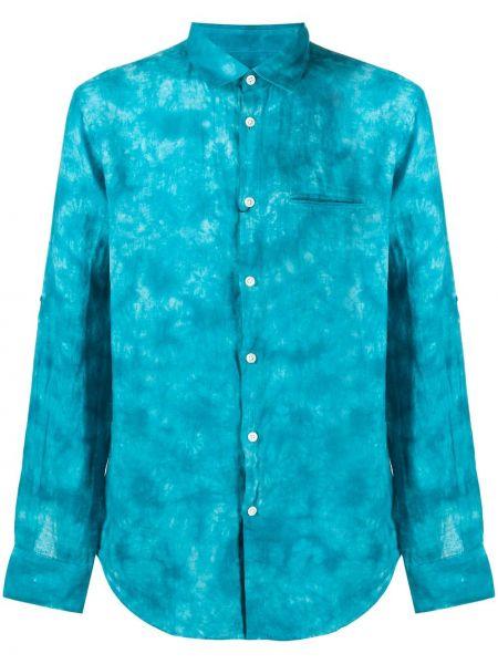 Klasyczna niebieska klasyczna koszula z długimi rękawami John Varvatos