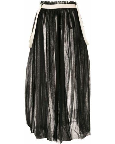 Черная юбка миди прозрачная из фатина в рубчик Aleksandr Manamïs