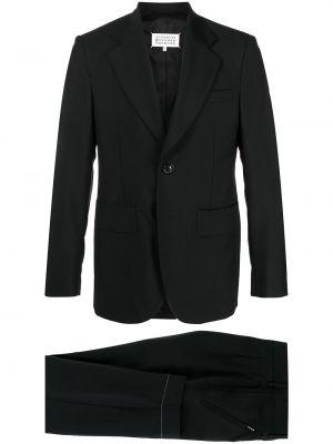 Czarny garnitur wełniany z paskiem Maison Margiela