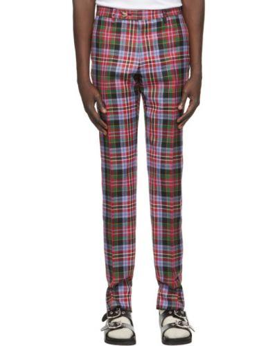 Wełniany prosto spodni przycięte spodnie z paskiem Vivienne Westwood