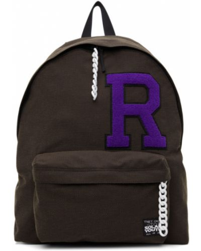 Текстильный черный рюкзак для ноутбука с карманами Raf Simons