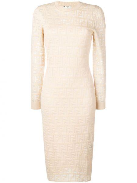 Платье в рубчик бежевое Fendi
