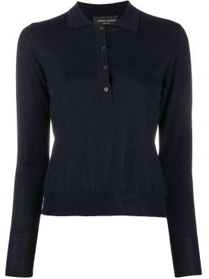 Шерстяная синяя рубашка с воротником Roberto Collina