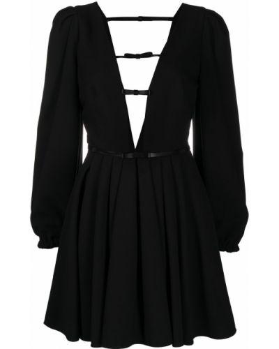 Czarna sukienka z wiskozy z dekoltem w serek Brognano
