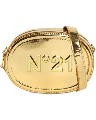 Skórzany z paskiem torba kosmetyczna złoto wytłoczony N°21