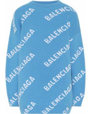 Свитер шерстяной синий Balenciaga