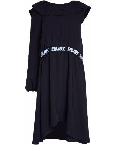 С рукавами черное платье с поясом Artem Krivda