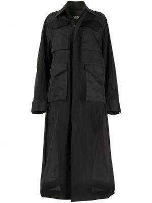 Длинное пальто на молнии с воротником Y-3