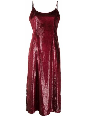 Тонкое красное платье миди с вырезом Haney