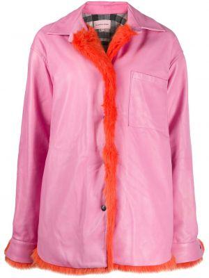 Кожаное пальто - розовое Natasha Zinko