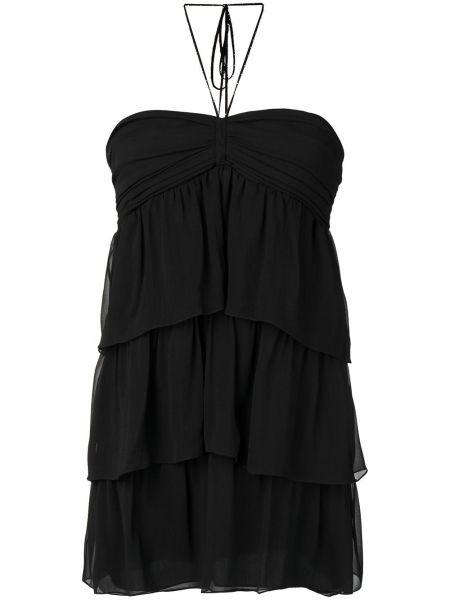 Платье мини с открытой спиной со складками Saint Laurent