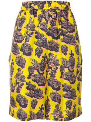 Żółty jedwab szorty z kieszeniami Stella Mccartney