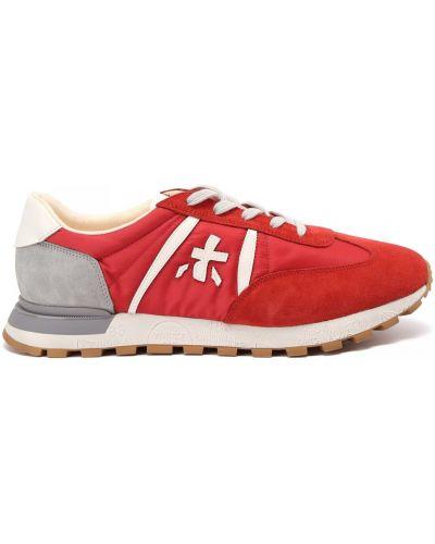 Красные кожаные кроссовки на шнуровке Premiata