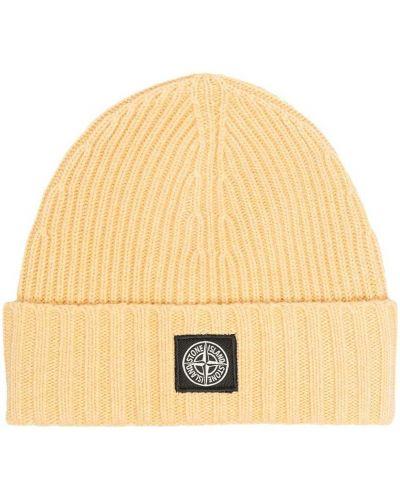 Желтая трикотажная вязаная шапка бини Stone Island Junior