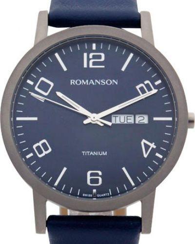 Часы водонепроницаемые с кожаным ремешком титановые Romanson