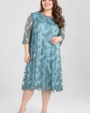 Комбинированное вечернее платье на торжество с вырезом круглое Luxury